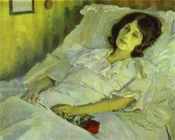 Dona malalta al llit